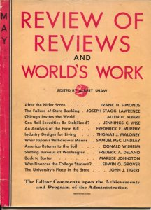 Review of Reviews and World's Work 1933-After The Hitler Scare-politics-econo...