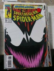 SPECTACULAR  SPIDER-MAN # 203 1993 MARVEL maximum carnage pt 13 venom+ goblin