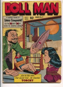 Doll Man #27 1950-Quality-bondage cover-Bill Ward spicy Torchy gets a massage...