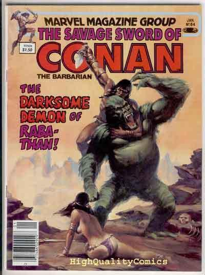 SAVAGE SWORD of CONAN #84, VF, Demon, Val Mayerik, Chiodo, more SSOC in store