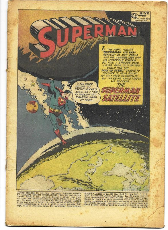 COVERLESS: Action Comics #229 DC 1959 The Superman Satellite Boring Mooney art