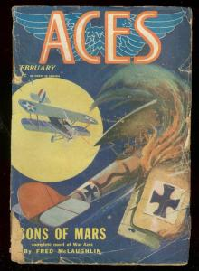 ACES FEB 1929-SONS OF MARS-FRED McLAUGHLIN-WWI PULP-FH G