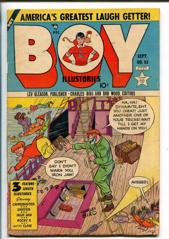 BOY #93 1953-LEV GLEASON-IRON JAW-ROCKY X-SID CHECK-THE CLAW-CRIMEBUSTER-vg