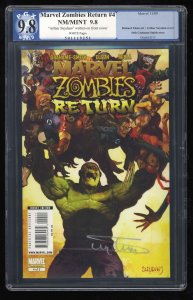Marvel Zombies Return #4 PGX NM/M 9.8 White Pages Signed by Arthur Suydam!