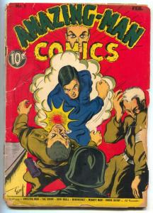 Amazing-Man #9 1940- 1st Nazi cover- RARE CENTAUR COMIC low grade