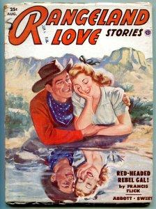 Rangeland Love Stories Pulp August 1952- Red Headed Rebel Gal VG
