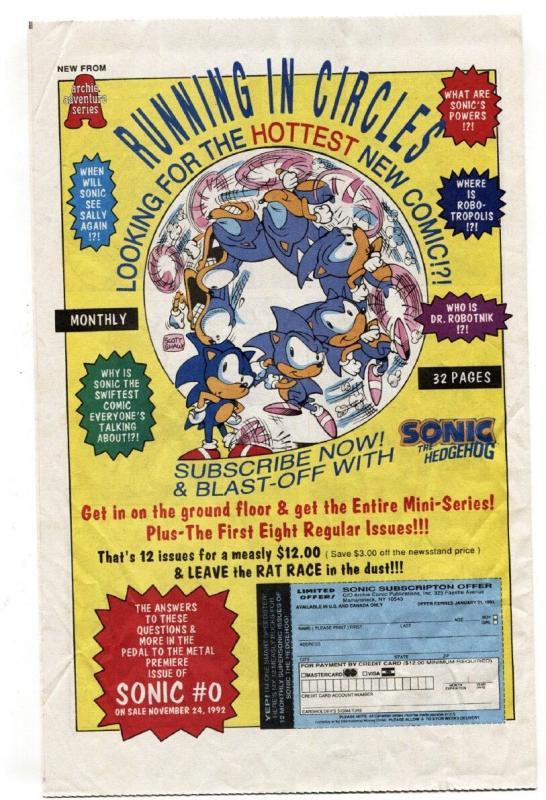 SONIC THE HEDGEHOG #1/4 1992 -ARCHIE COMICS-SEGA  VF