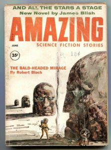 Amazing Stories June 1960- Bald-headed Menace VG