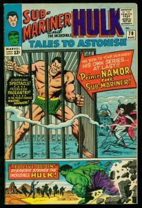 TALES TO ASTONISH #70 1965- HULK & SUB-MARINER BEGIN- NICE COPY VF+
