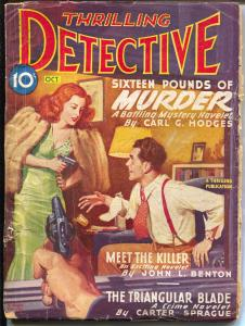 Thrilling Detective 10/1946-Gun Moll cover-hard boiled pulp crime fiction-VG+