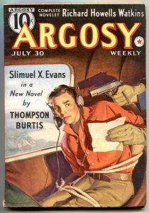 Argosy Pulp July 30 1938- Invasion of America- Slimuel X Evan VF