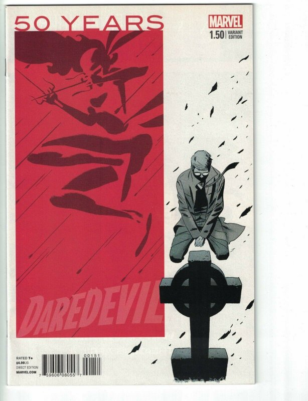 Daredevil #1.5 VF/NM 50 years anniversary red variant edition - elektra cover