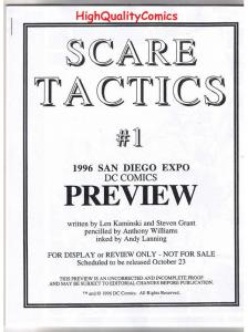 SCARE TACTICS #1 Black and White Promo, 1996, VF/NM, Preview, more in store