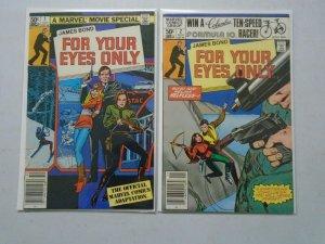 James Bond For Your Eyes Only set #1+2 Newsstand 8.0 VF (1981 Marvel)