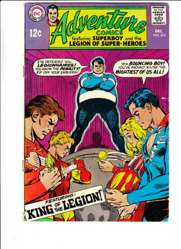 Adventure Comics #375 (Dec-68) VG Affordable-Grade Legion of Super-Heroes, Su...