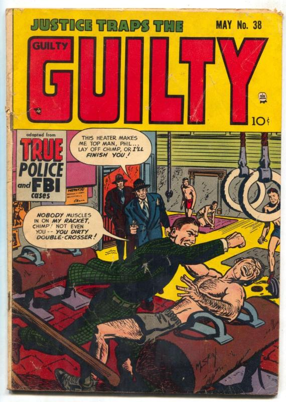 Justice Traps The Guilty #38 1952- Gymnastics cover- Golden Age