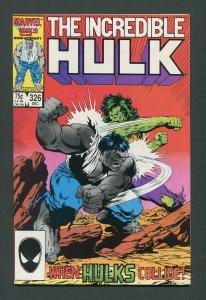 Incredible Hulk #326 /  9.2 NM-  December 1986