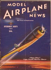 Model Airplane News 2/1937-Capt Frank Hawk's racer plane cover-Josef Kotuia-VG