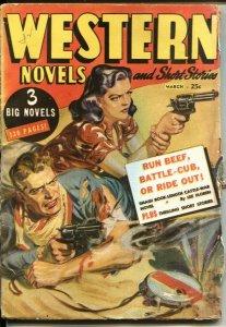 WESTERN NOVELS AND SHORT STORIES-Mar 1948-NORMAN SAUNDERS  GUN GIRL COVER-- P...