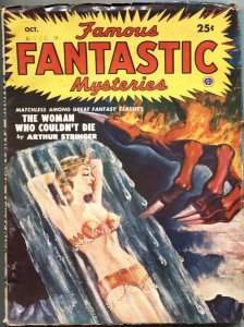 FAMOUS FANTASTIC MYSTERIES-OCT 1950--GIRL ART COVER BY DeSOTO--PULP