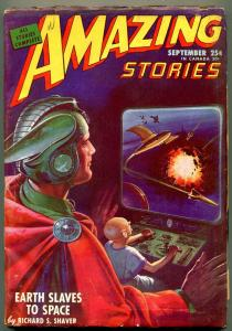 Amazing Stories Pulp September 1946- Earth Slaves to Space- Great cover VG/F