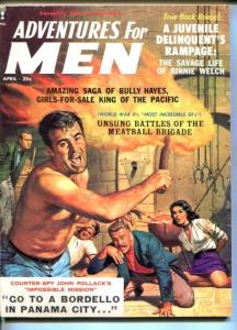 ADVENTURES FOR MEN-APR-1959-PULP THRILLS-BEAST MAN-DELINQUENTS-CHEESECAKE-vg