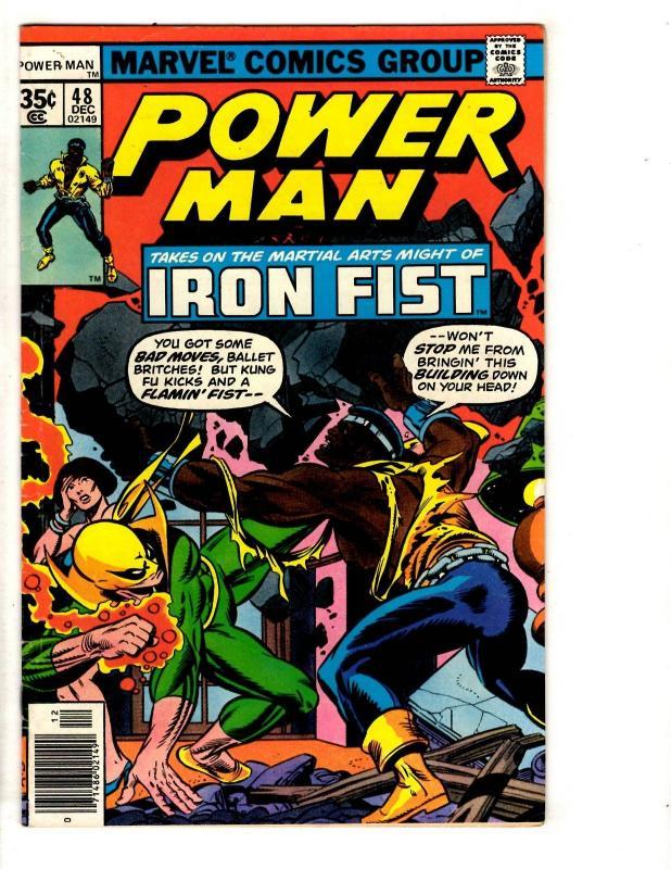 Power Man # 48 VF Marvel Comic Book Iron Fist Crossover Luke Cage Defenders CR45