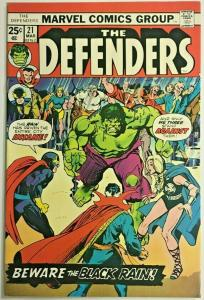 DEFENDERS#21 FN/VF 1975 MARVEL BRONZE AGE COMICS