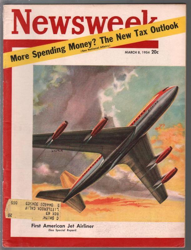 Newsweek 3/8/1954-1st American Boeing jet liner-NASCAR-death pix-FN