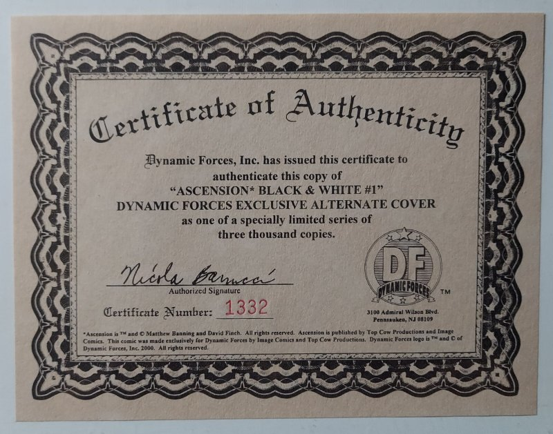 TOP COW CLASSICS ASCENSION #1 NM- DFE Alternate CVR ltd to 3000 w COA #1332