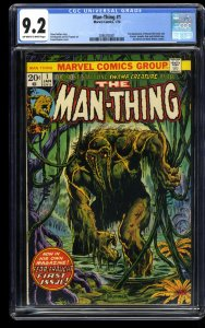 Man-Thing #1 CGC NM- 9.2 Off White to White 2nd Howard the Duck! Marvel Comics