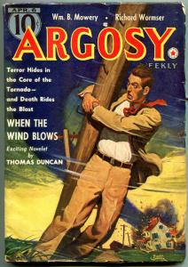 Argosy Pulp April 6 1940- When the Wind Blows- Belarski cover FN-