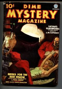 DIME MYSTERY- 12/1936-POPULAR PUB.-PULP-BOUND BABE-WEIRD MENACE vg/fn