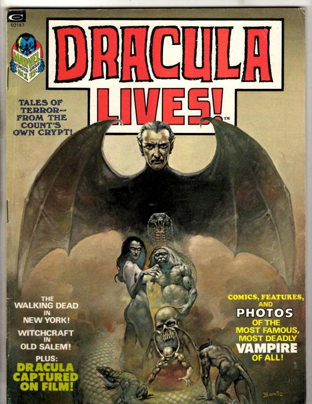 Dracula Lives # 1 VF Marvel Comic Book Magazine Vampire Monster Horror TD14