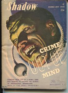Shadow 2/1946-Street & Smith-Crime Out Of Mind-hero pulp-VG