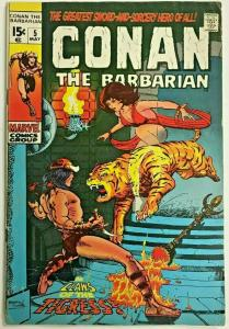 CONAN THE BARBARIAN#5 VG 1971 MARVEL BRONZE AGE COMICS