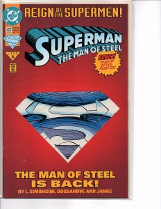 DC Comics (1991) Superman The Man of Steel #22 Die-Cut Cover Steel Introduction