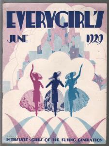 Everygirl's 6/1929-Art Deco cover-Amelia Earhart-Ruth Nichols-VG