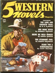 5 WESTERN NOVELS-1952 APRIL-POKER GAME COVER-CARDS-RARE PULP-THRILLING