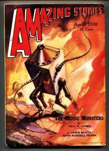 AMAZING STORIES 1938 Apr-Robot cover-High Grade Pulp Magazine
