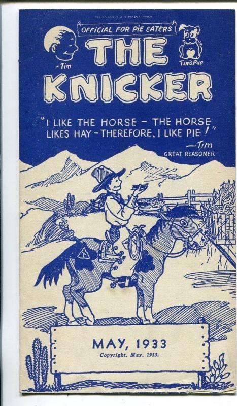The Knicker 5/1933-pre comic book promo giveaway-Western-3 3/4 X 6 3/4-FN