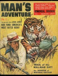 MAN'S ADVENTURE JAN 1958-TIGER COVER-JESSE JAMES -CRIME VG