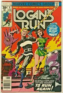 LOGAN'S RUN#6 VF 1976 FIRST THANOS SOLO MARVEL BRONZE AGE COMICS