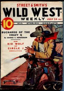 Wild West Weekly 7/24/1937-western hero pulp-Kid Wolf-Circle J-VG