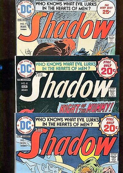 SHADOW COMICS (1975)  #7, #8, #9  THREE BOOKS  9.2  WHITE PAGES HIGH GRADE
