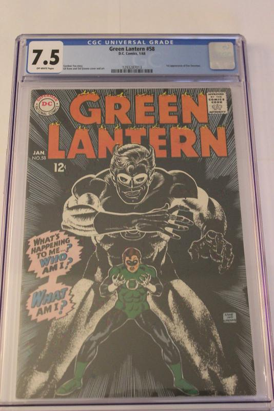 Green Lantern #58 (DC, 1968) CGC VF- 7.5 Off-white pages
