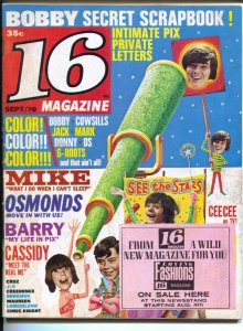 16 Magazine 9/1970-Cowsills-David Cassidy-rare promo sticker on cover-star pi...