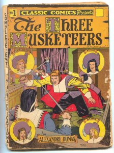 Classic Comics #1 HRN 15- Long Island edition- THREE MUSKETEERS- reading copy