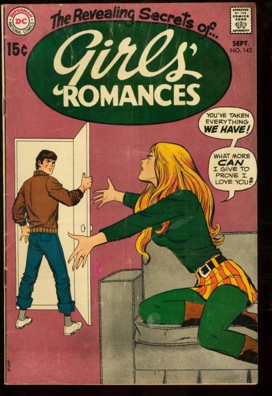 GIRLS ROMANCES #143-DC ROMANCE-RARE-MODERN FASHION COVR VG