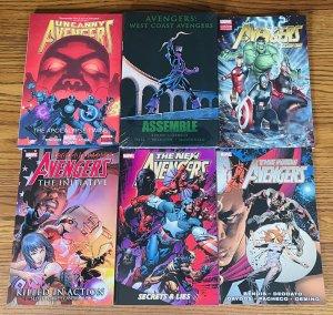 LOT OF 6 AVENGERS TPBs & HC BOOKS: Uncanny West Coast New Secret Invasion Marvel